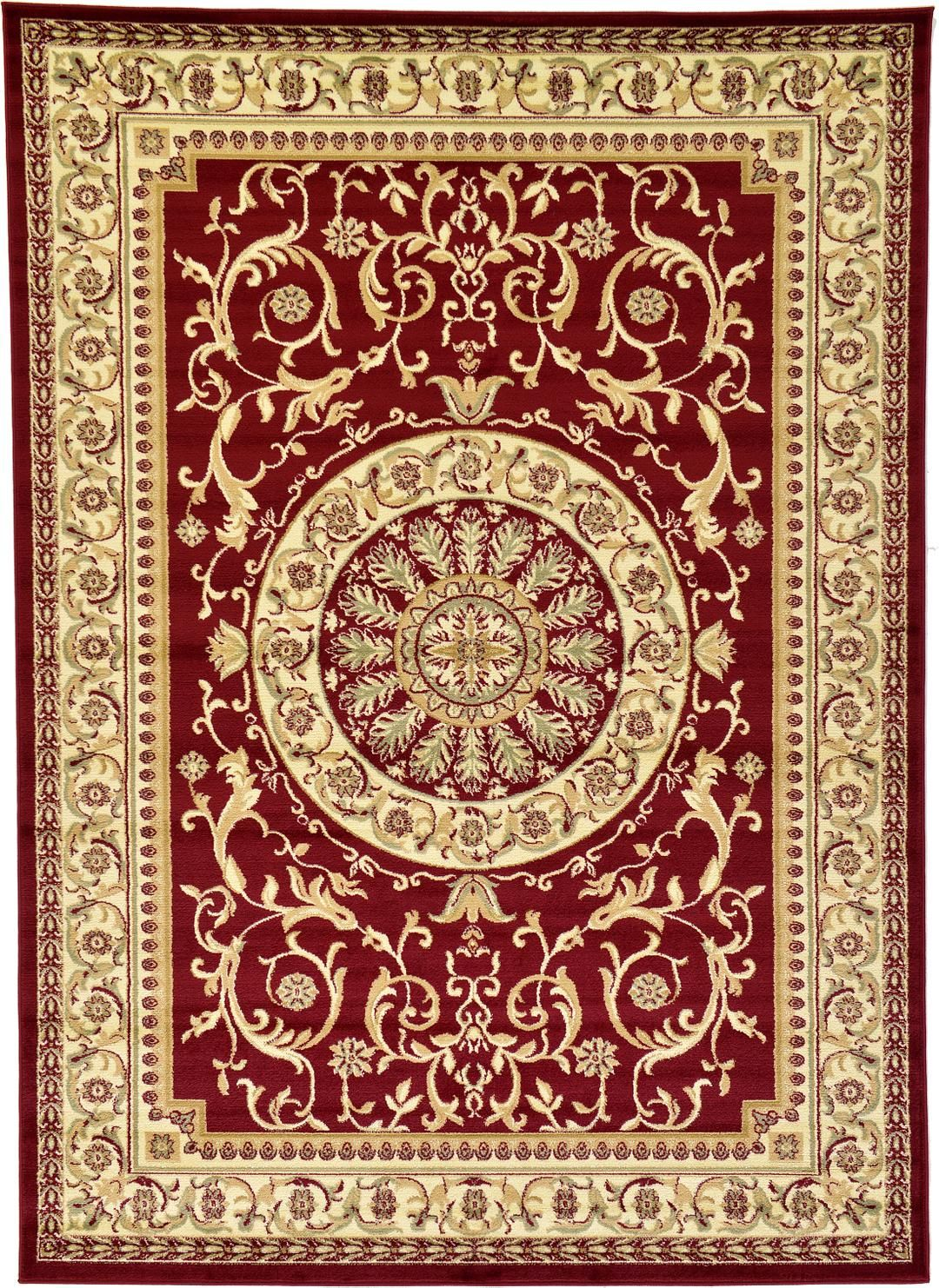 Red 7 X 10 Classic Aubusson Rug Area Rugs Esalerugs 絨毯