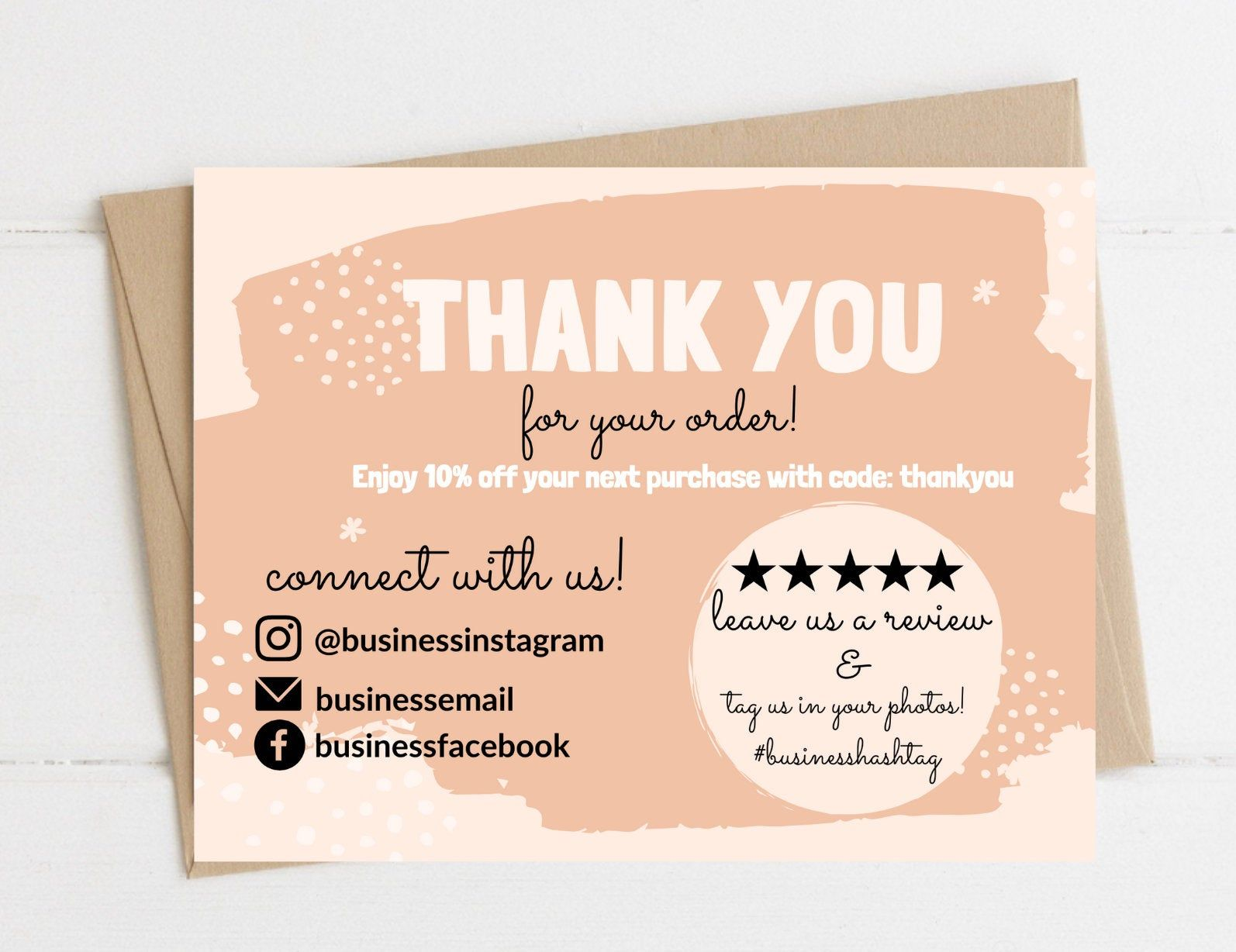 Instant Download Thank You Card Editable And Printable Thank Etsy In 2021 Printable Thank You Cards Business Thank You Notes Thank You Card Design