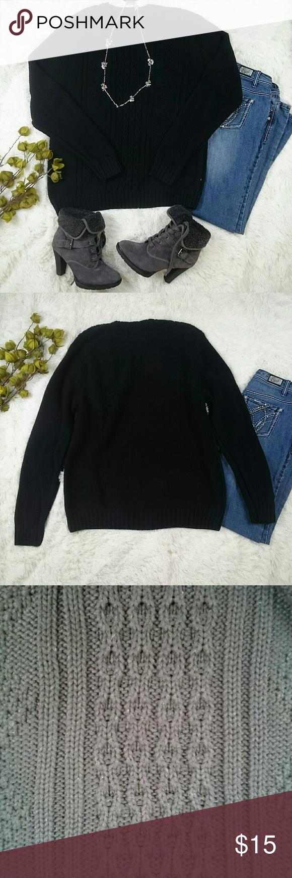 Chaps oversized black crew neck sweater | Crew neck sweaters ...
