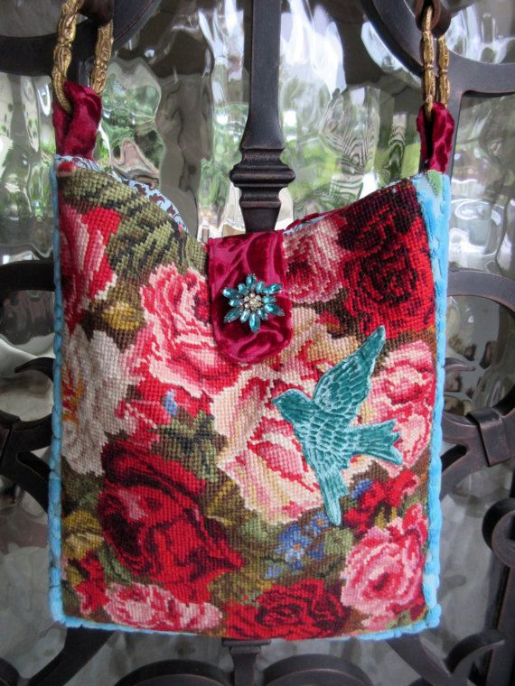 Vintage Needlepoint Roses Pink Blue Green Velvet Bird Shabby Chic Bags Vintage Needlepoint Tapestry Bag