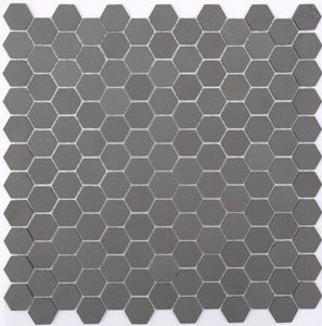 Lyric Unglazed Porcelain Hexagon Mosaic Tile In Charcoal