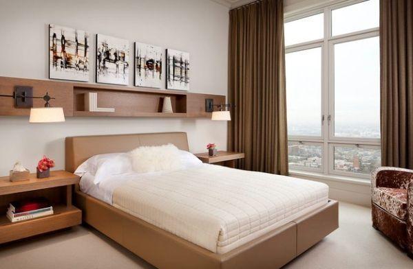Coole Deko Ideen Schlafzimmer Kleine Beige Regale Fenster Bett Sessel