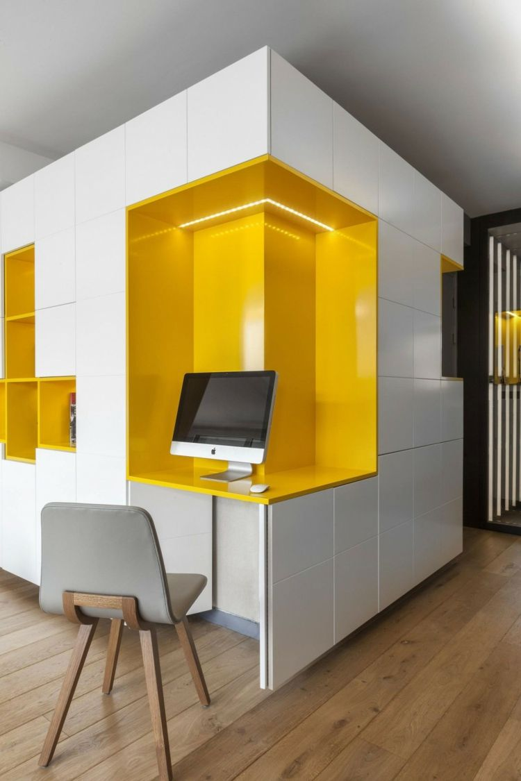 Kinderzimmer Wohnwand In Gelb Und Weiss Fur Farbakzente