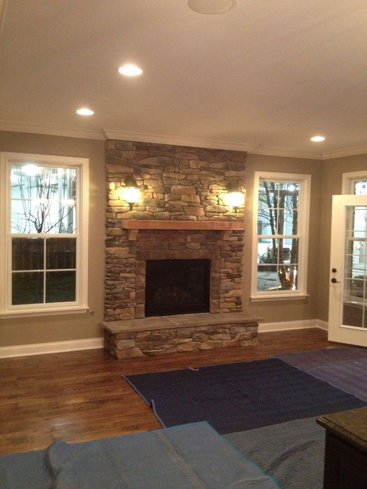 Stone Fire Place Windows Each Side And Put Window