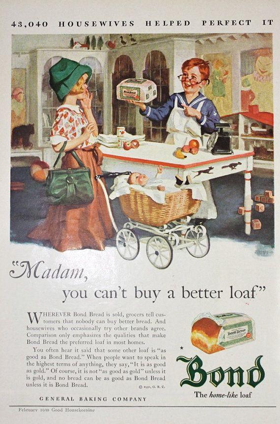 Bond Bread Vintage 1930s Good Housekeeping by APaperReverie, $10.00 ...