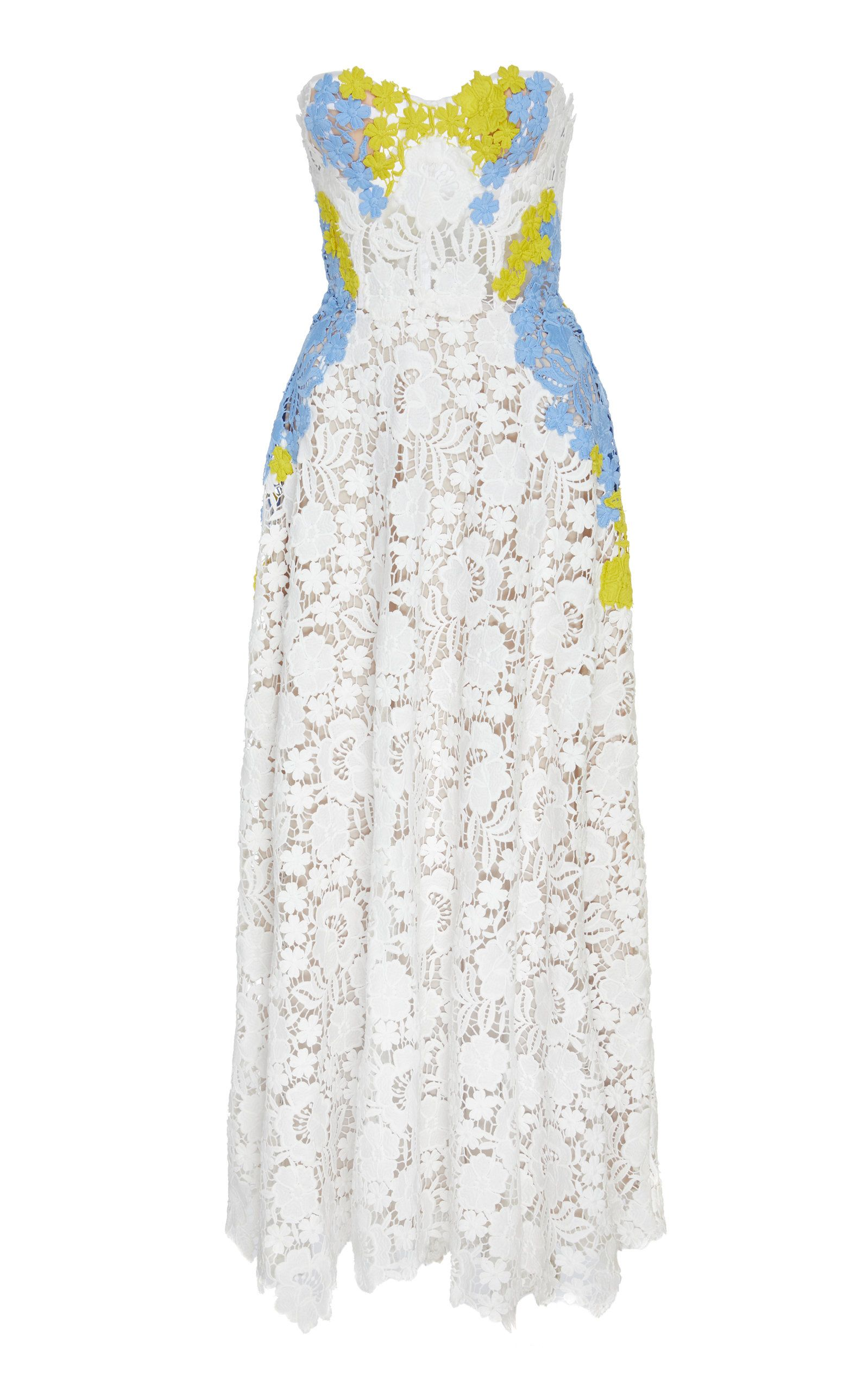 ede462087cb Guipure Lace Strapless Bustier Dress by LELA ROSE for Preorder on Moda  Operandi