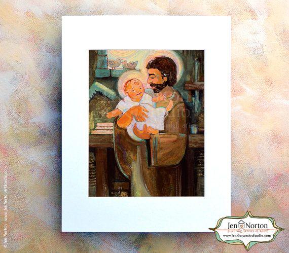 Saint Joseph And Baby Jesus Art Print By Jen Norton 28 Saintjoseph Holyfamily Josephandbabyjesus Art Prints Sacred Art Art
