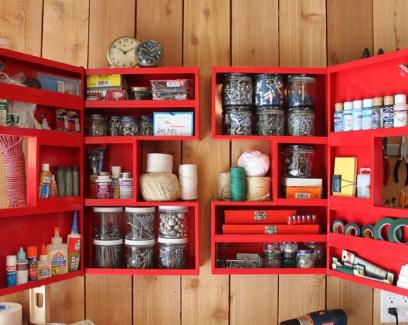 Armario para herramientas rojo organizar la casa for Casa para herramientas