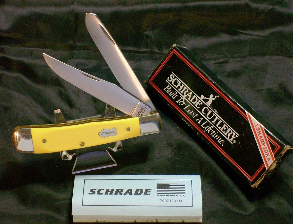 Schrade 296y Quot Circa 1980 S Quot W Bright Yellow Delrin Handles