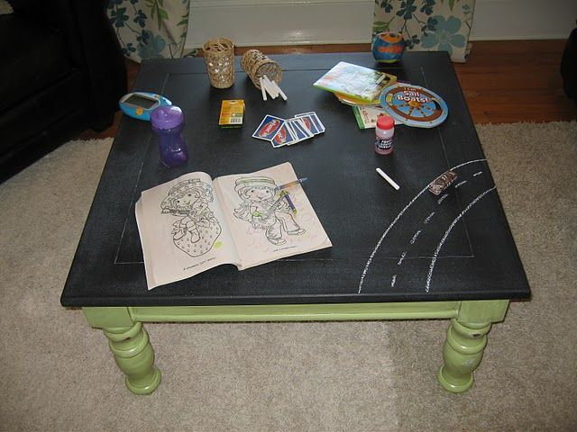 """""""A kid friendly coffee table."""" In theory... I'm feeling like I would probably hate the chalk dust being everywhere though... but great idea for a play table. I'm kind of obsessed with chalkboard paint."""