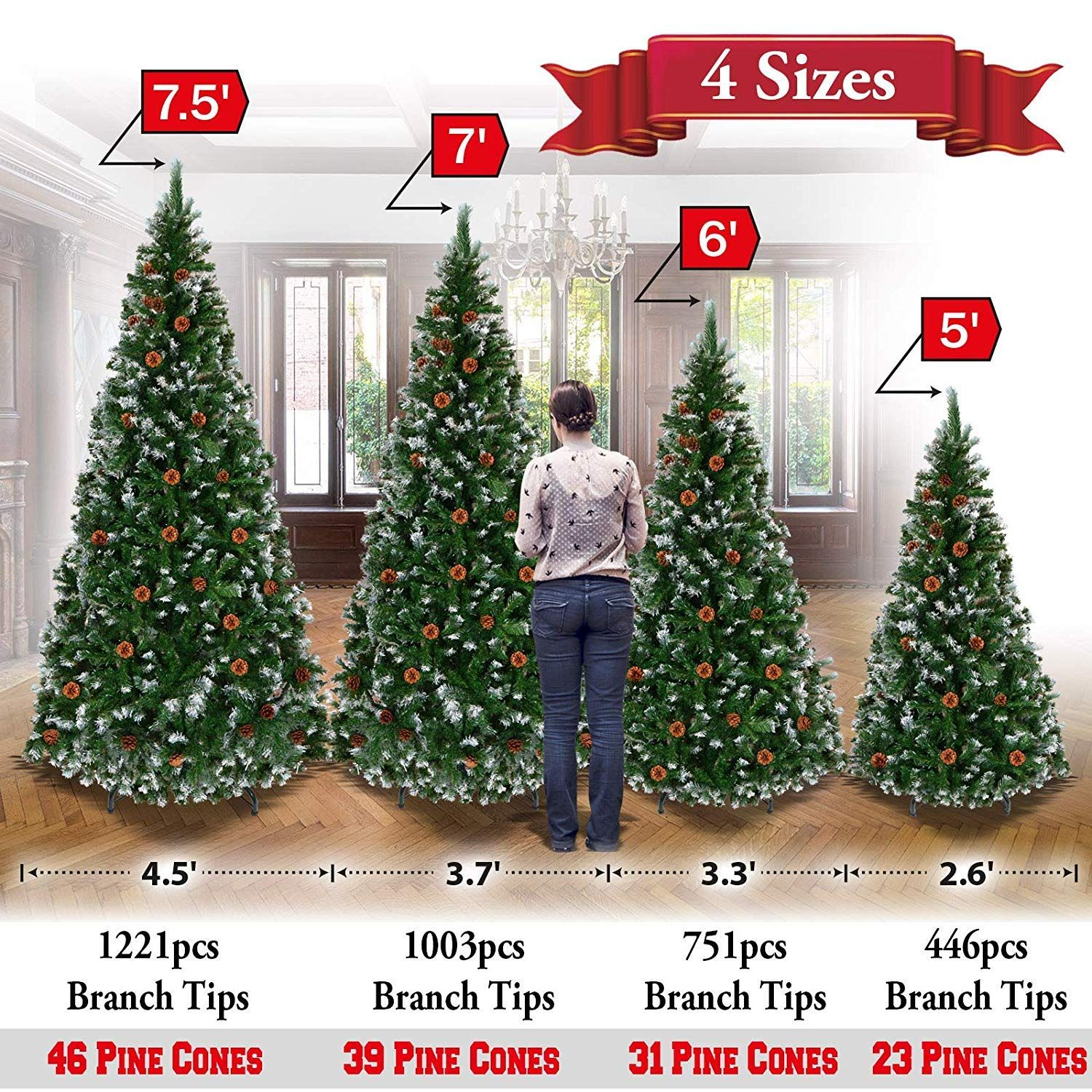 Christmas Snow Tree Tipped With Pine Cones With Steel Stand Base 5ft 6ft 7ft 7 5ft 7 5ft And1221 Tips An Artificial Christmas Tree Snow Tree Christmas Snow