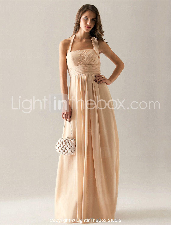 Empire Halter Floor Length Chiffon Bridesmaid Dress   USD $ 99.99 At  Lightinthebox.com