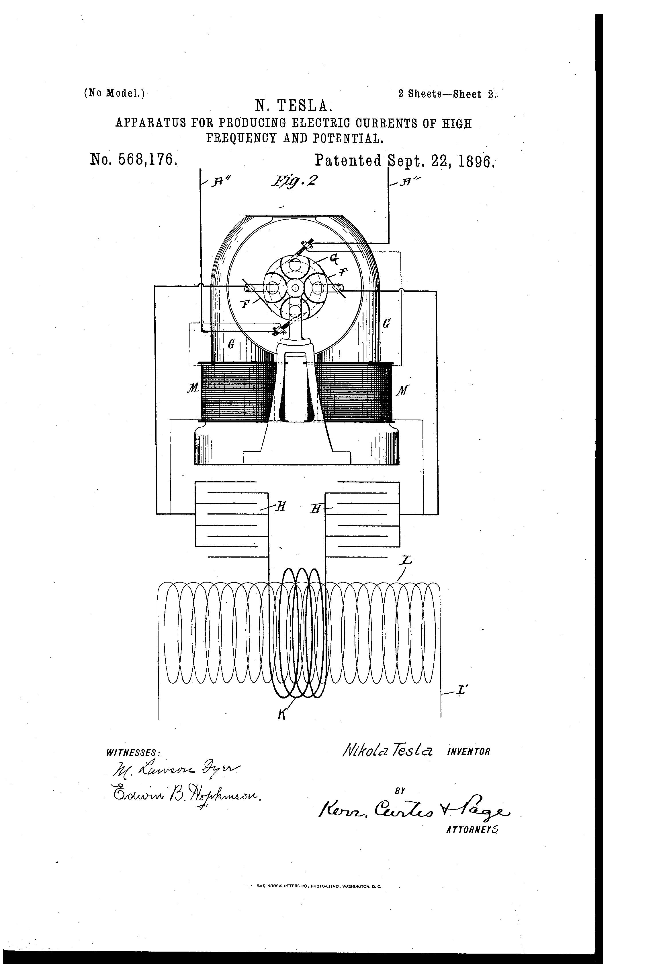 patent us568176 - nikola tesla