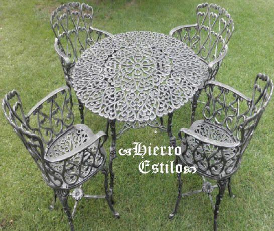 juego de jardin aluminio - modelo rosas- mesa + 2 sillas | Jardines ...