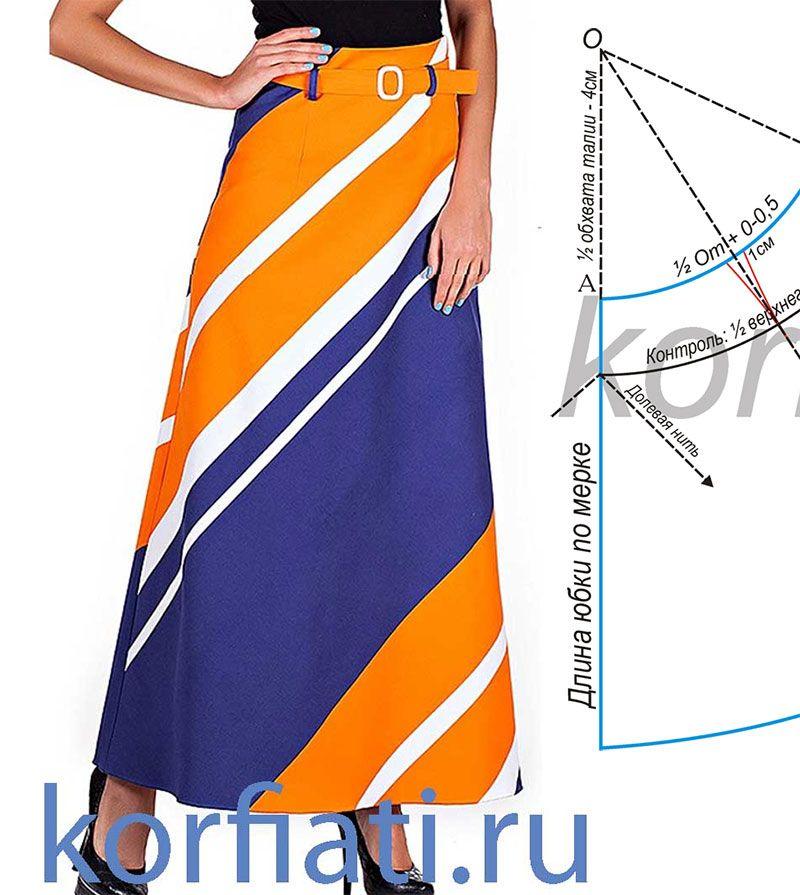 Длинная юбка колокол выкройка