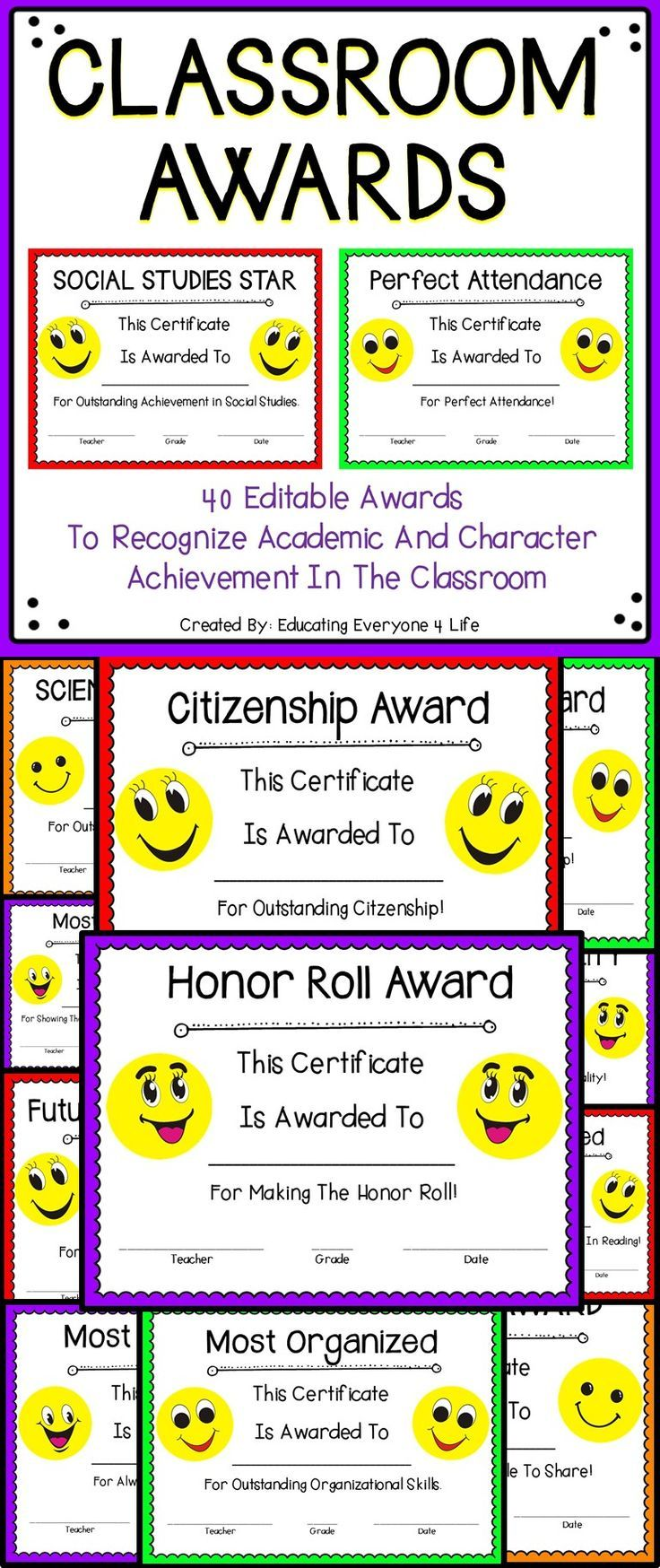 End Of Year Classroom Awards Certificate Teacher Pay Teachers And