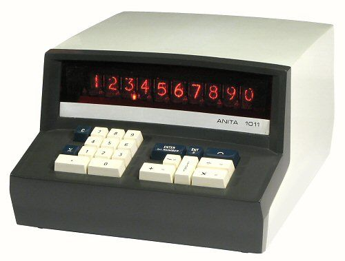 Anita1011  electronic calculator  c. 1970  -  major progress from the cylinder slide rule !  It was not cheap and it was bulky.