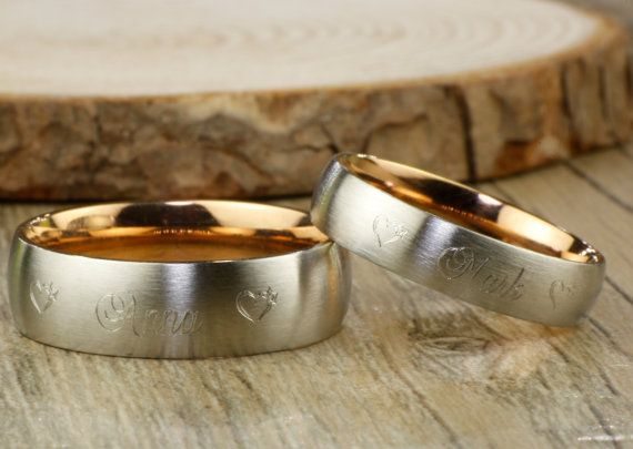 Anniversary Rings Set Women Ring Titanium Rings Set Couple Rings Set Handmade Matte Wedding Band