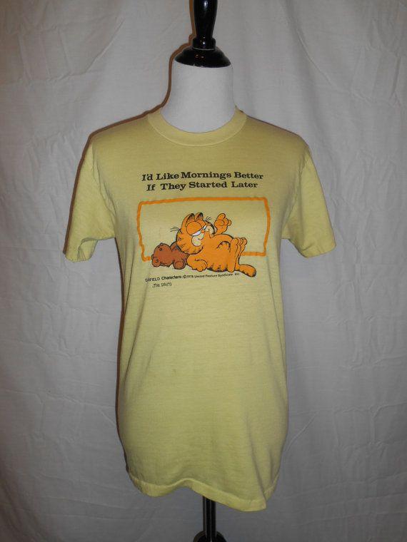 Vintage Garfield T Shirt Garfield Shirt Sneakers Tag Etsy Shirts T Shirt Funny Tshirts