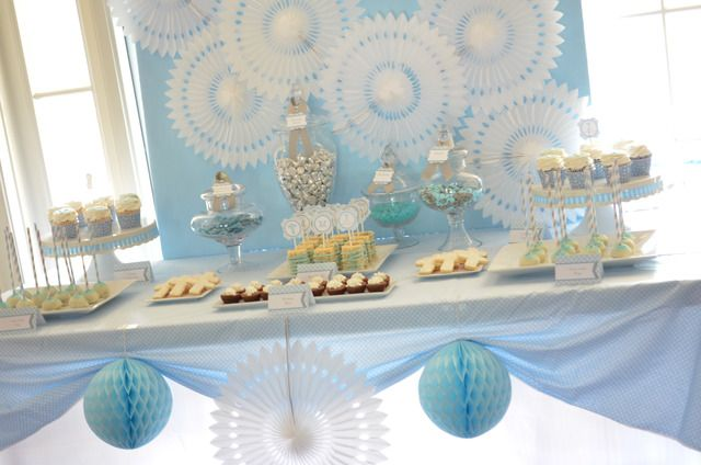 baby blue and silver grey baptism party ideas