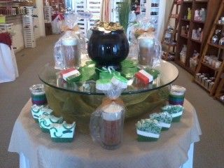 Happy St. Paddy's Day 2014! Display featuring beer mug candles, irish flag and shamrock soaps.