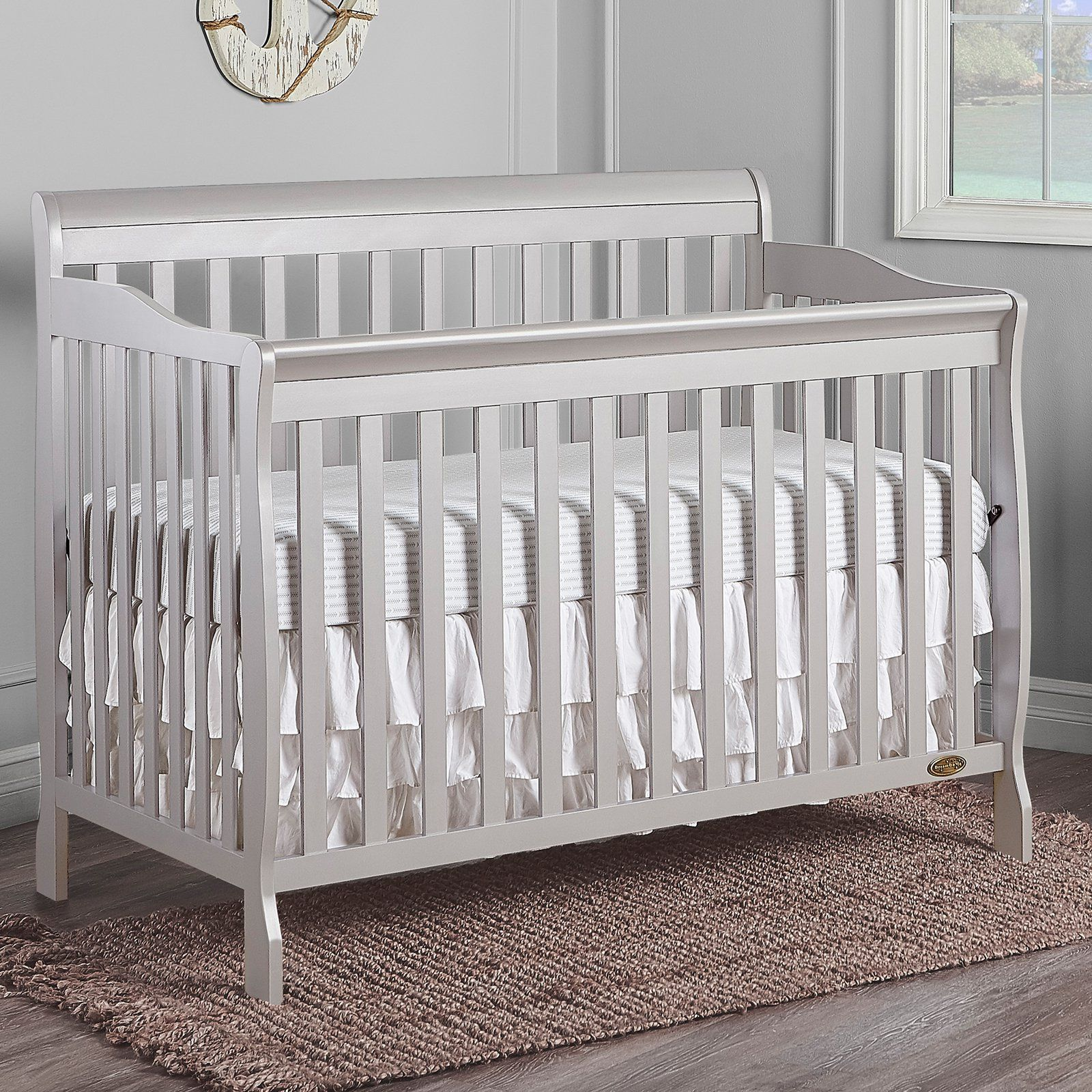 Dream On Me Ashton 5 In 1 Convertible Crib Cribs White Nursery Furniture Convertible Crib