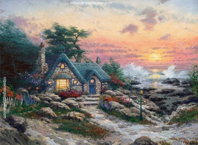 Thomas Kinkade Cottage By The Sea painting sale sites, painting Authorized official website