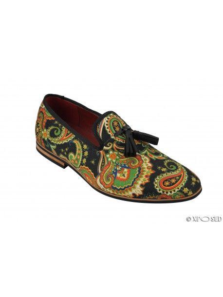 ab74eeb233 Mens Leather Tassel Loafer Vintage Designer Style Paisley Print Shoes Black  Blue  UK 6 EU 40
