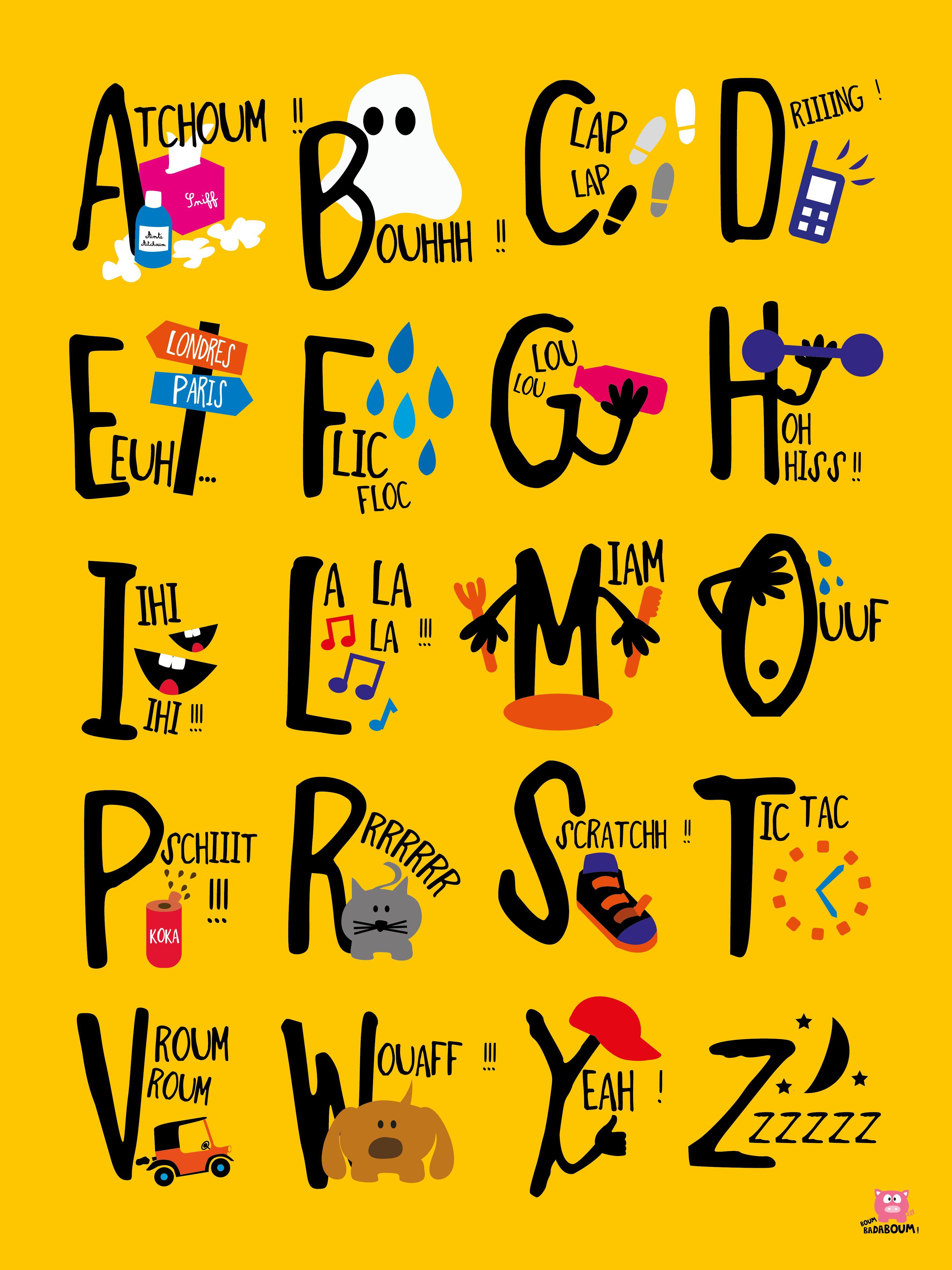 Abécédaire! Alphabet francais, Abécédaire, Onomatopée