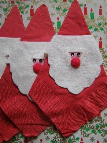 Lavoretti Di Natale Patchwork.Babbo Natale Con I Tovaglioli Di Carta Santa With Paper