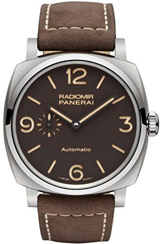 cool Panerai Men's 45mm Brown Leather Band Titanium Case S. Sapphire Automatic Analog Watch PAM00619 just added...