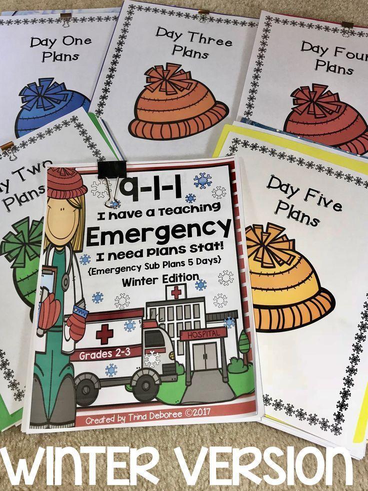Emergency Sub Plans Bundle for 2nd-3rd-Grade Teachers Winter Edition #emergencysubplans