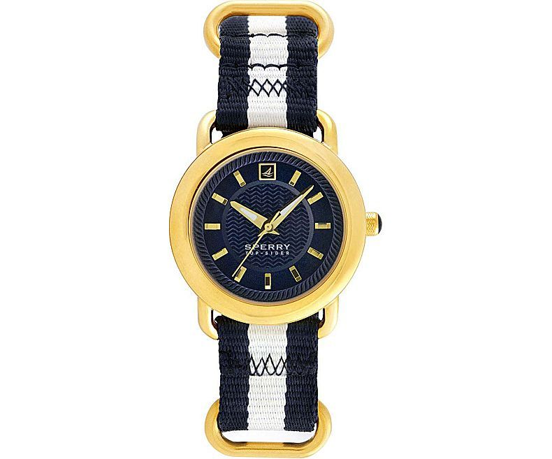 Sperry Women's Hayden Watch $150 Gold Steel/Navy Nylon & White Striped - Complete your Sperry Top-Sider look with this preppy watch with a uniquely nautical flair. It showcases the textured Wave-Siping™ details of the first Sperry boat shoes with rope edging