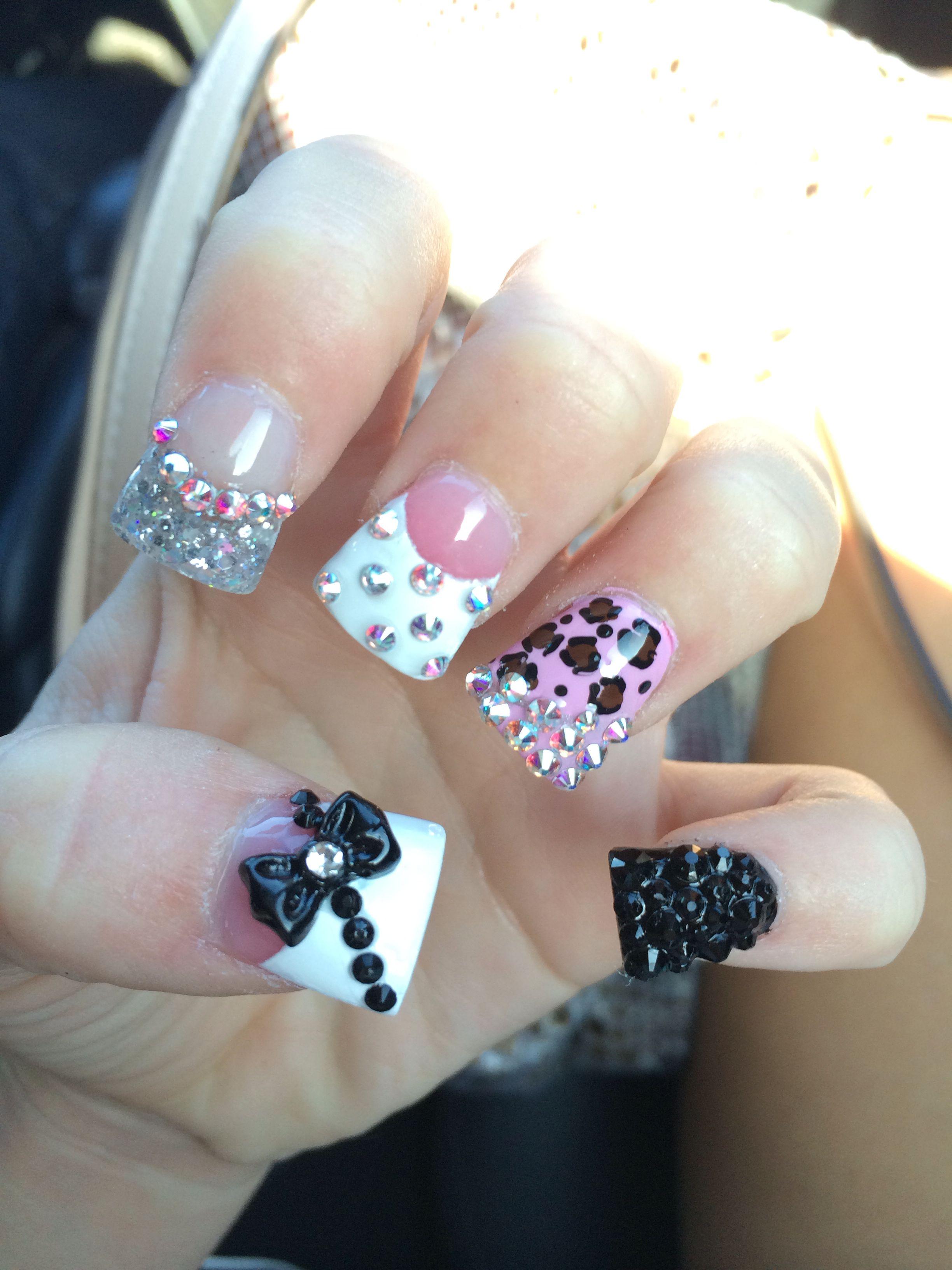 Acrylic nails #duckfeet #obsessed #rhinestones   Nails   Pinterest ...
