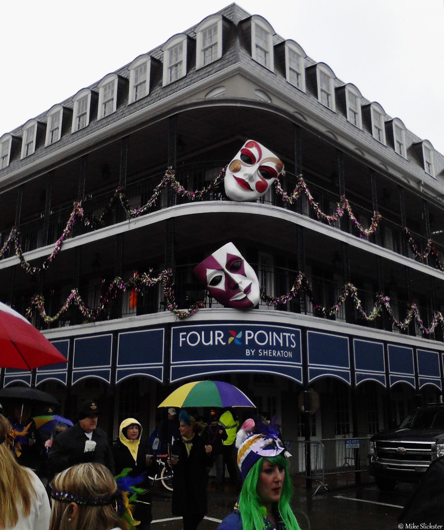 A Wet Mardi Gras Afternoon on Bourbon Street. New