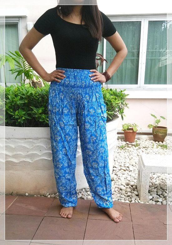 Blue Elephant Pants Baggy Boho Style Printed Hippie Gypsy Thai Tribal Plus  Size Rayon Aladdin Clothing Beach Baggy Casual Gift Rayon Tank