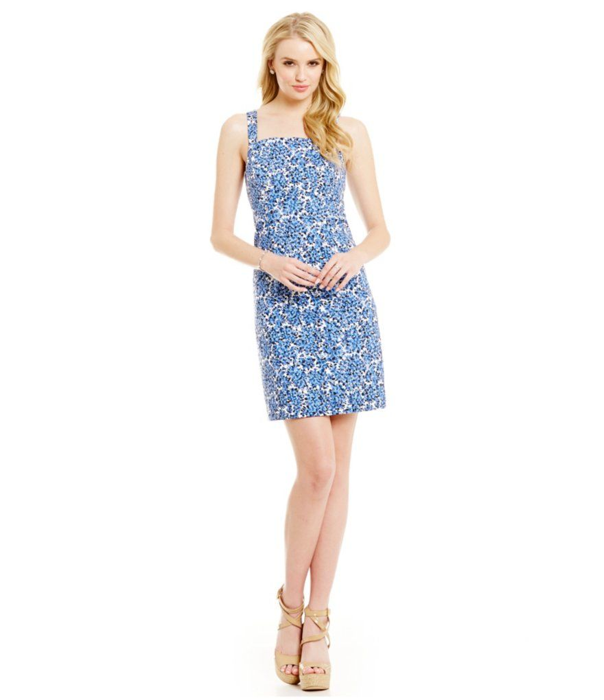 Michael michael kors chiltington floral square neck sheath dress