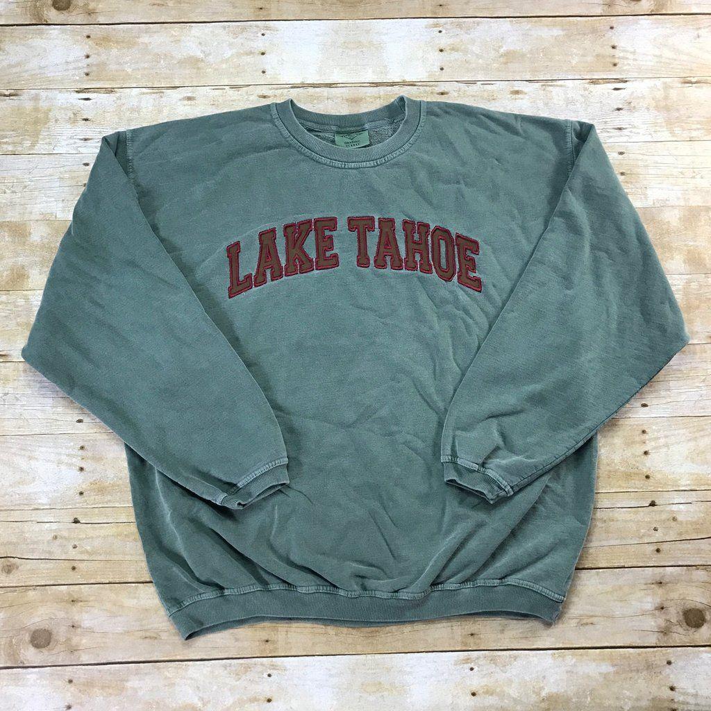 Vintage 90s Embroidered Lake Tahoe Faded Green Crewneck Sweatshirt Mens Size Xl Rad Shirts Vintage Sweatshirt Cutie Clothes [ 1024 x 1024 Pixel ]