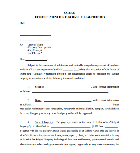 Sample Letter Of Intent Real Property Template Land Purchase