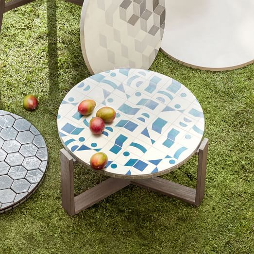 Mosaic Tiled Outdoor Coffee Table Two Tone Geo Tiled Coffee