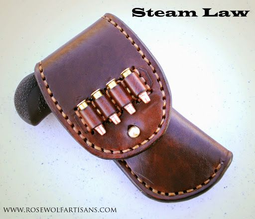 Right hand draw holster for North American Arms Pug .22 Magnum.   Full buckskin lining, sam browne closure, four .22 caliber bullet loops on flap cover, hand stitched seams, finished in dark brown.