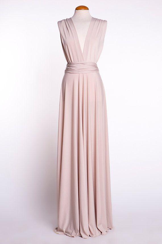 Bridesmaid long dress, beige bridesmaids dresses, backless long ...