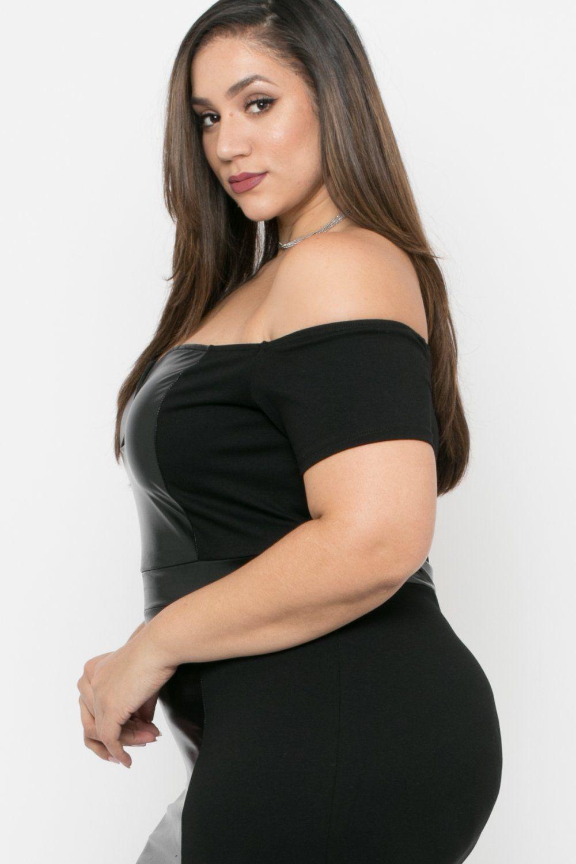37d3986b009 Plus Size Naomi Faux Patent Leather Bodycon Dress - Black | Erica ...