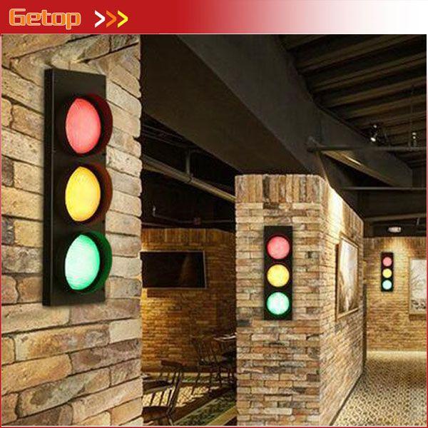 Creative Loft Retro American Iron Wall Lamp For Corridor Creative Artistic Traffic Lights Warning Light For Bar Restaurant Iron Wall Lamps Lamp Shade Wall Lamp