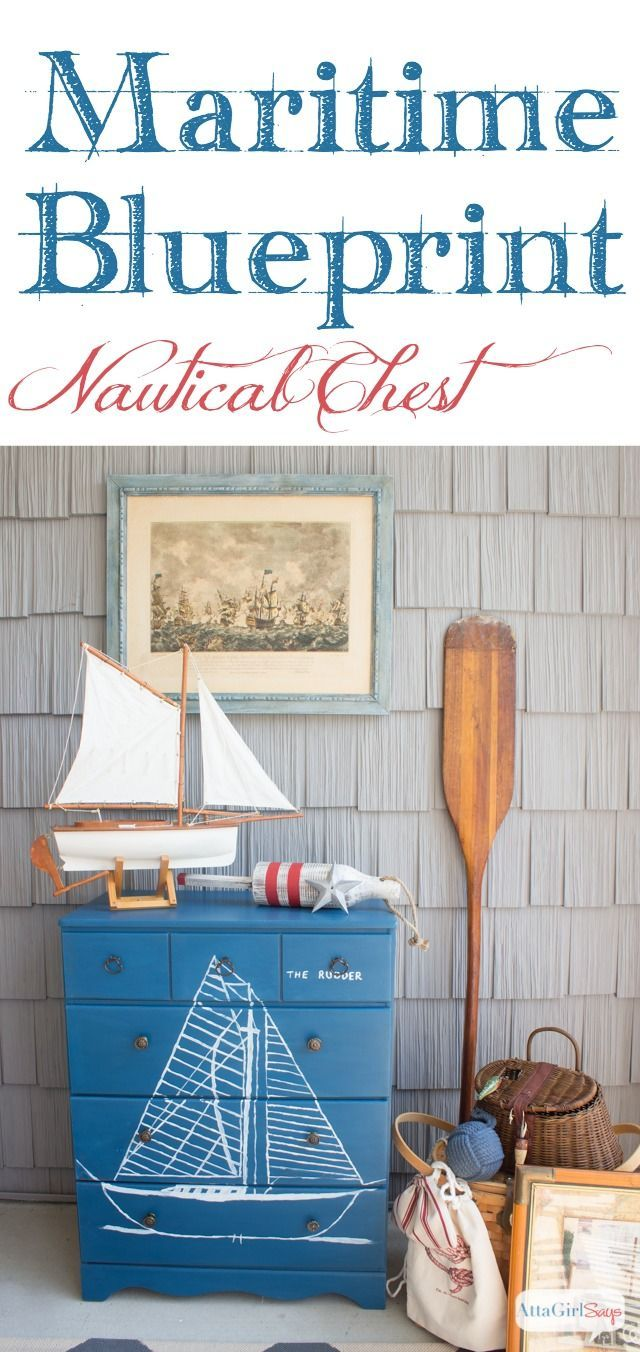 Photo of Handpainted Maritime Blueprint Dresser Inspired by Vintage Nautical Decor