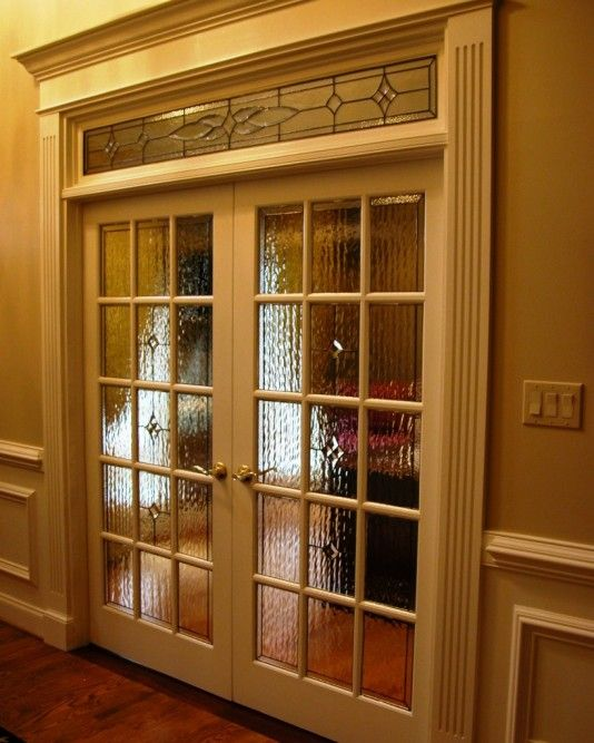 Double 15 Light Raised Grid Door With Legacy Glass On Perimeter And Clear 4 Part Star In Center With Diam Stained Glass Window Panel Beveled Glass Leaded Glass