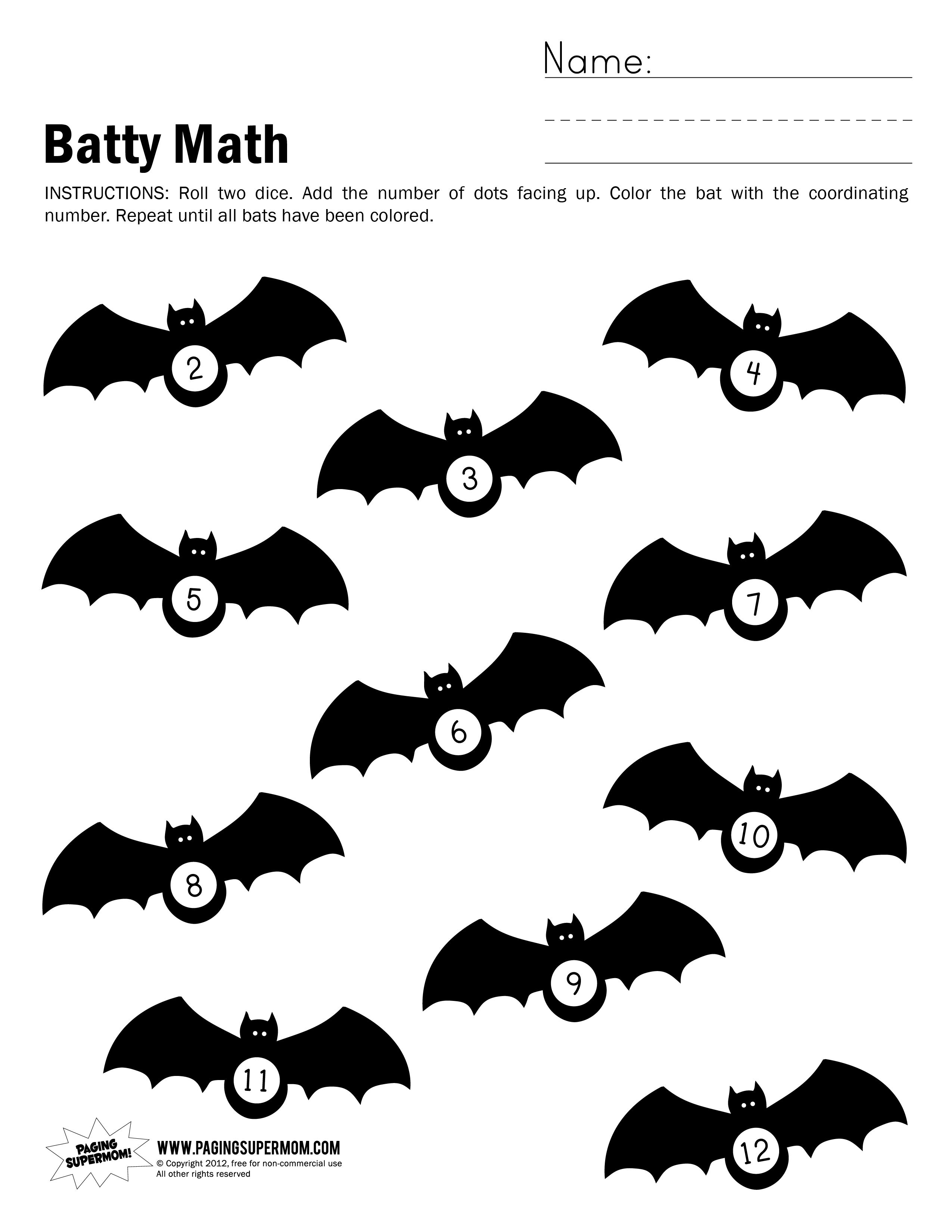 Halloween Math Worksheet 2 12 Education Bats Pinterest