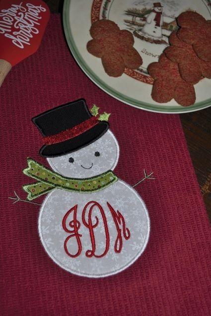 Snowman Applique Machine Embroidery Design