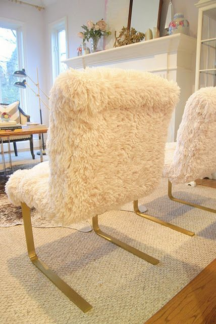 fur chairs from chenille faux fur fabric great idea realli chic