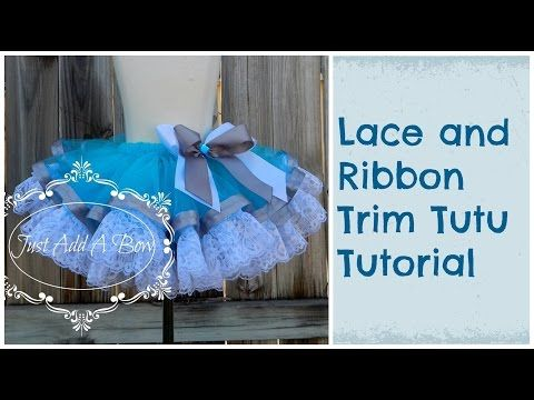 HOW TO  Make a Lace and Ribbon Trim Tutu by Just Add A Bow - YouTube This  one is awesome and it is a completely sewn tutu 54c6aa47f9